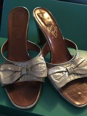 Vintage Gold Leather Hand Made High Heel Mules Size 3.5