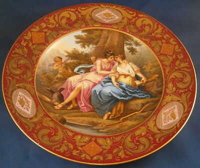 Antique Superb Royal Vienna Porcelain Scenic Plate Porzellan Szenen Teller Scene