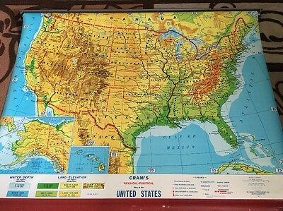 United States Physical Political Map Pulldown Crams school wall mount
