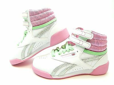 Reebok Classic White Pink Green V72765 Girls Shoes Size 10.5 To 2.5