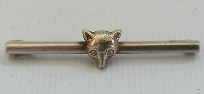 Vintage Sterling Solid Silver Fox Head Hunting Riding Brooch Tie Pin Clasp