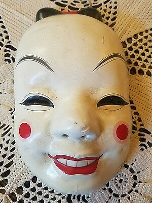 Antique vintage Japanese Kabuki Noh theater full size adult mask plaster mache