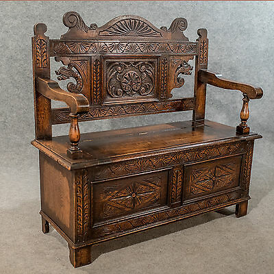 Antique Carved Oak Settle Bench Pew Hall Seat With Locker English Mid 20thC