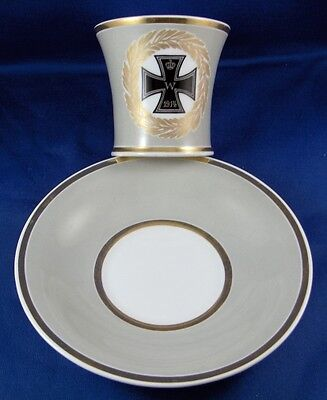 KPM Berlin Porcelain WWI Iron Cross Cup & Saucer Porzellan Tasse German Germany