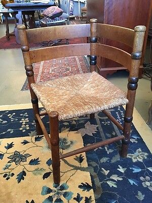 Late 17th C William and Mary Southern Ladder Back Corner Chair Rush Seat Paint