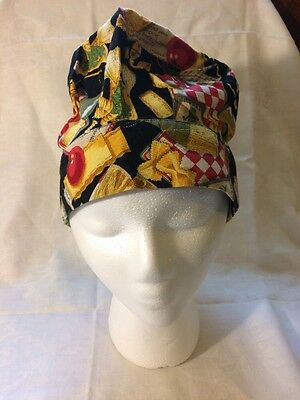 Culinary Classics Italian Food Chef Hat with bonus neckerchief  Velcro Closure