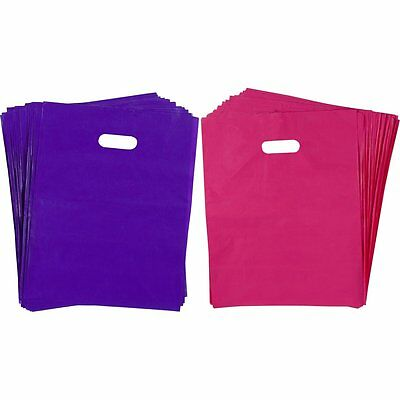 """100 Plastic Merchandise Shopping Bags 12"""" x 15"""" Glossy Pink Purple with Handles"""
