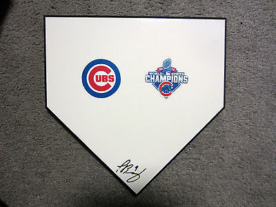 JAVIER BAEZ Chicago Cubs SIGNED Autographed Home Plate Base w/COA World Series