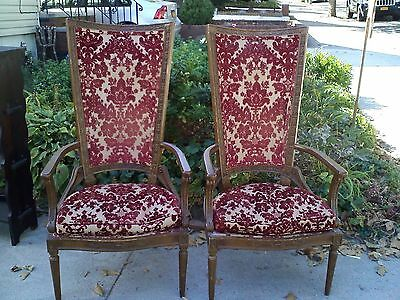 Antique Vintage High Back Red Floral set of 2 Chairs RARE & UNIQUE