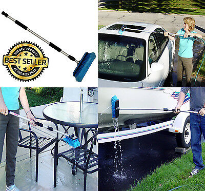 Car-Wash-Brush-Telescoping-Handle-Vehicle-Cleaning-Tool-RV-Boat & Truck-60-Inch