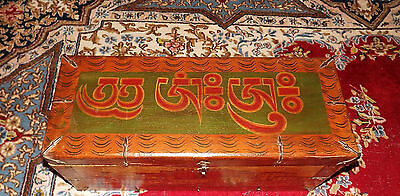 Old Antique Tibetan Wooden Trunk Chest, Buddhist  Dalai Lama Palace Paintings