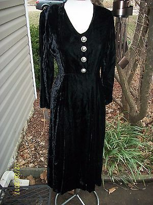 Double D Dd Ranch Wear Black Velvet Rayon Dress With Concho Buttons S