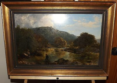 """John Dearle """"ON THE LUGWY"""" 19th c Original English Oil Painting, Antique Vintage"""