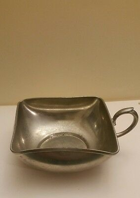 Vintage Royal Daalderop Holland Made Pewter Cup Bowl Square W/ Handle FREE SHIP