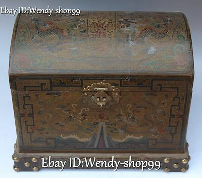"13"" Chinese Wood Lacquerware Palace Dragon Loong Treasure Box Case Chest Statue"