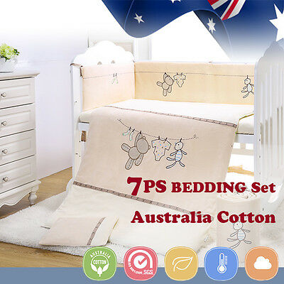 7pcs Baby Crib Bedding set Bumpers Quilt Pillow Cot Sheet Newborn Gift Bear New