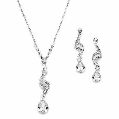 Bridal Bridesmaid Jewelry Set necklace earrings cubic zirconia Austrian Crystals