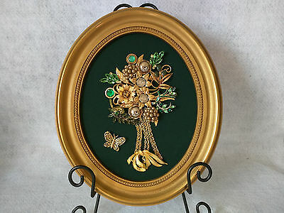 """Framed Jewelry Art """"tree"""" vintage collage Green Gold Oval Wall Mount Music"""