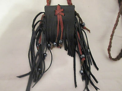 Handmade Black & Brown Leather Neck Pouch Bag Glass Beads - Fringed