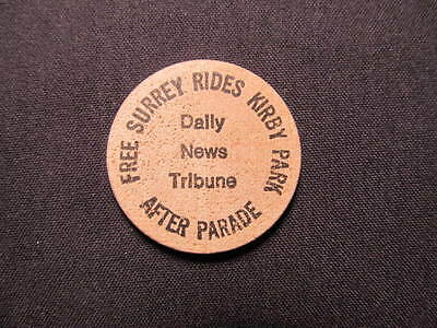 Kirby, West Virginia Wooden Nickel token- Free Surrey Rides Kirby Park Wood Coin