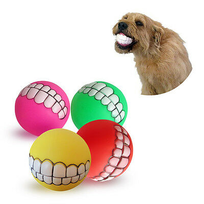 1pc Teeth Toys Ball Durable Treat Bite Fetch Ball Funny Pet Dog Puppy Smile Cat