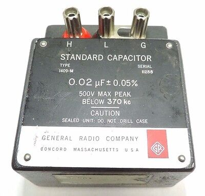 General Radio Company Standard Capacitor 0.02 uF 0.05% type 1409-M fully tested
