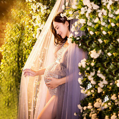 Women Maternity Photo Shoot Gown  Flower Dress Maternity Photography Props