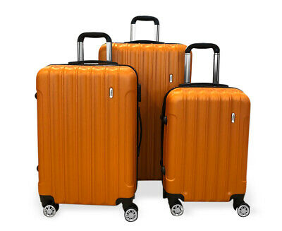 TODO ULTRA LIGHT LUGGAGE SET 3pcs HARD SHELL COMBINATION LOCKS ORANGE