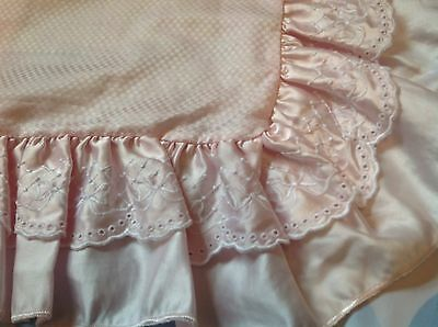 Vintage Style Satin Pink Cushion Cover Lace Trim Lovely Design Pillow Slip K