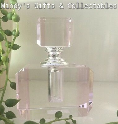 Vintage Style Stunning Heavy Clear Crystal Cut Pink Glass Perfume Bottle New