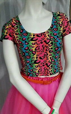Fluro Neon Animal print crop top . womens sz 8/10. Stretch. Great 80s party top