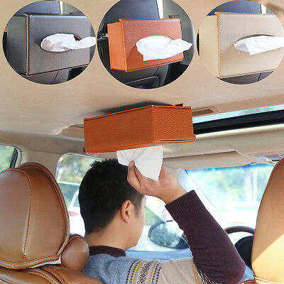 Vehicle Home Car Room Decor Leather Wooden Tissue Box Cover Papers Holder Case