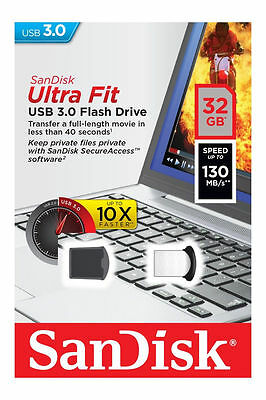 32GB 32G SanDisk Ultra Fit Micro USB 3.0 Flash Pen Memory Drive Stick 130MB/s
