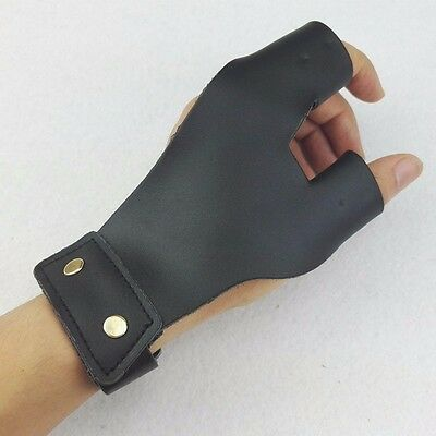 Archery 2 Finger Guard Leather Protector Glove in Black for Hunting Accessories