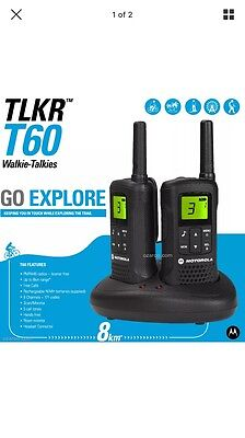 New Motorola Talker TLKR T60 2 Way Walkie Talkie 8km PMR 446 Radio 2 Pack T60