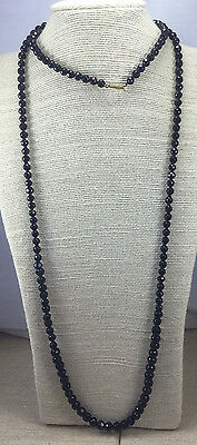 Vintage Victorian Necklace Glass Black Faceted Graduated Crude bead Mourning