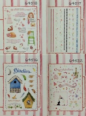 Rub on Transfers by Susan Branch Plaid Lot of 4 Recipes Celebration Tea Time