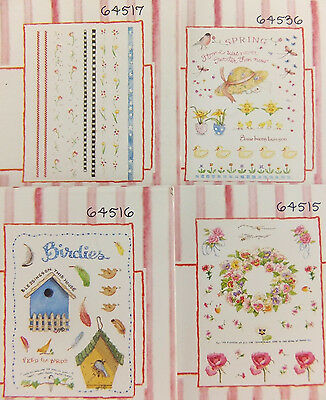 Rub on Transfers by Susan Branch Plaid Lot of 4 Spring Easter Flowers Brids
