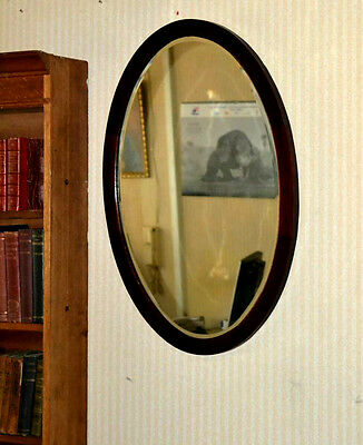 """Victorian Mahogany Oval Wall Mirror Bevelled Plate 31"""" x 21"""" - FREE P&P [PL3340]"""