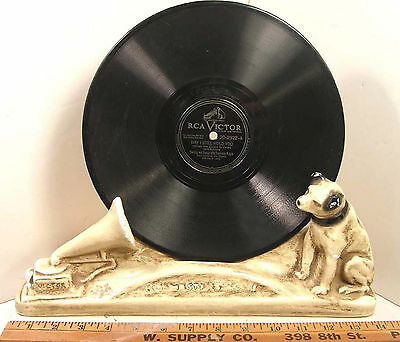 Vintage Antique Rca Victor Store Display Nipper Chalkware Plaster Record Holder