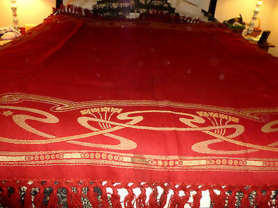 Vintage large beautiful woolen woven fringed coverlet