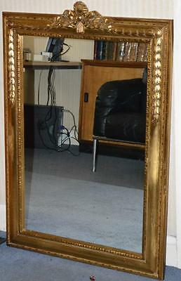 "Antique French Louis XVI Style Gilded Mirror 42"" H Made in Belgium [PL3347]"