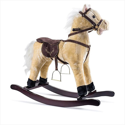 Toddler Rocking Horse For Kids Girls Boys With Sound Toy Hobby Beige Tike Plush
