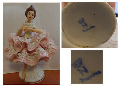 Vintage Crown N Dresden  Lady Porcelain Lace Figure  full pink lace dress