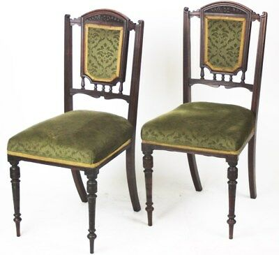 A pair of Victorian Carved Oak Dining Chairs - FREE Shipping [PL3350]