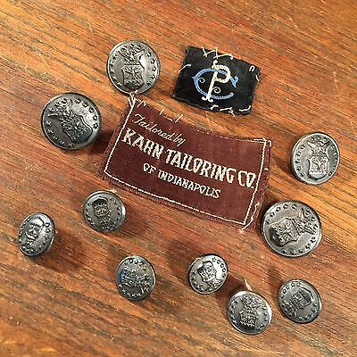 Vintage Button Lot (10) US Military Uniform Labels Waterbury PRIORITY MAIL