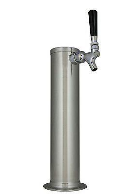 "Kegco DT145-1B 14"" Brushed Stainless Steel 1-Tap Draft Tower - Standard Faucet"