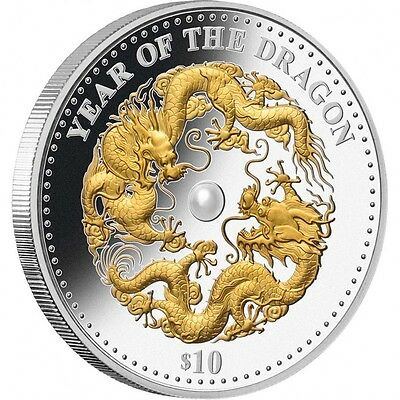 2012 Fiji $10 Year Of The Dragon Gold Plated W/pearl Silver Proof Coin W/coa Box