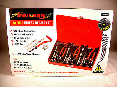 M6, M8, M10 Thread Repair Kit, 88 Pieces, With Drill Bits NEW UK STOCK