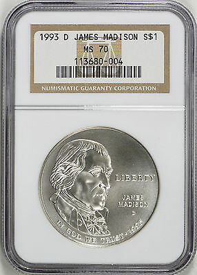 1993-D - Madison Bill of Rights Commemorative Silver Dollar - NGC MS 70- Perfect